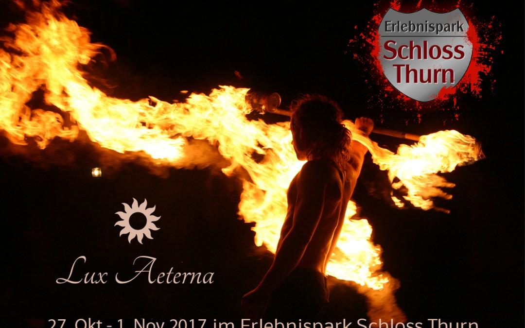 Halloween Feuershows in Schloss Thurn mit Lux Aeterna vom 27.10.-1.11.2017