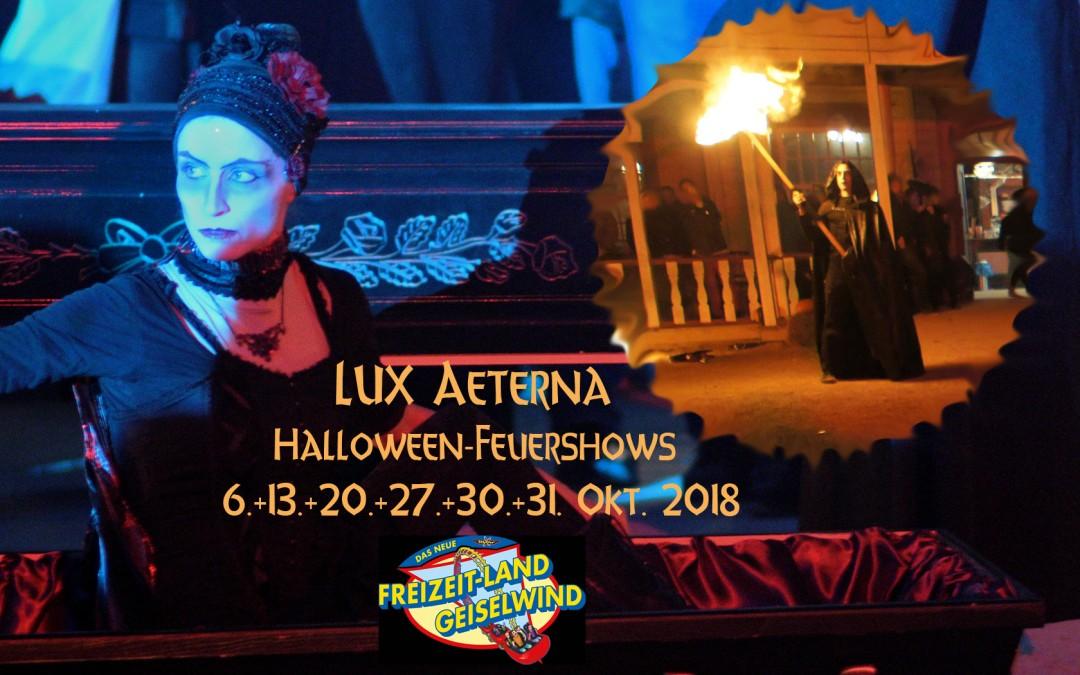 Halloween Feuershows mit Lux Aeterna im Freizeitland Geiselwind im Oktober 2018